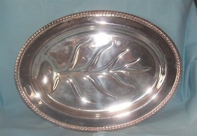 "Vintage Footed Meat Tray 16 1/2"" - Silverplate Meat Platter with Drip Well"