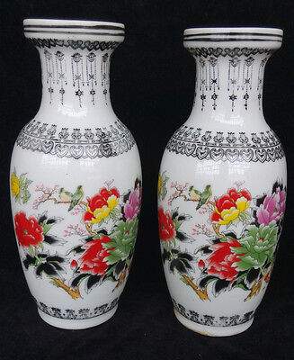 A pair exquisite handmade Chinese porcelain vase - Peony H=9.5inch,W=4.6inch