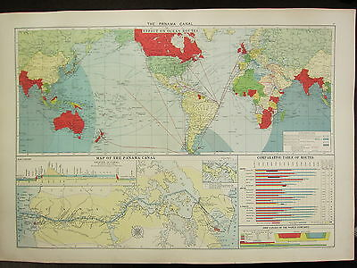 1913 LARGE MERCANTILE MARINE MAP ~ PANAMA CANAL COMPARATIVE ROUTES OCEAN