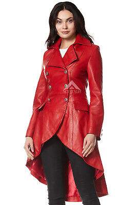 EDWARDIAN Ladies Real Leather Jacket Red Washed Laced Back Gothic Coat 3492