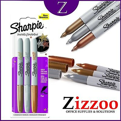 Sharpie Metallic Fine Point Permanent Markers (3 Pack) - Gold - Silver - Bronze