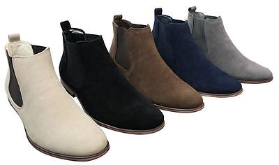 Mens Italian Suede Slip On Ankle Boots Smart Casual Desert Chelsea Dealer