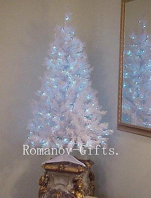 Sparkling WHITE Retro Hanukkah Tree Pre-lit w/ BLUE colored lights,4 Ft tall