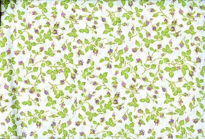 2 3/4 Yds of White with Purple Buds and Green Leaves Quilting Fabric