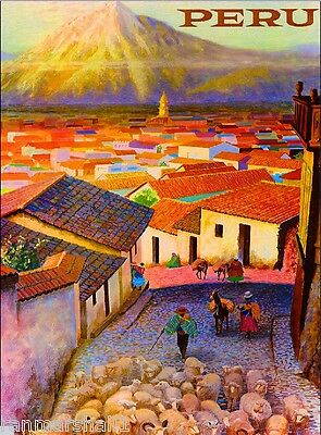 Visit Peru Inca Incas South America Vintage Travel Advertisement Art  Poster