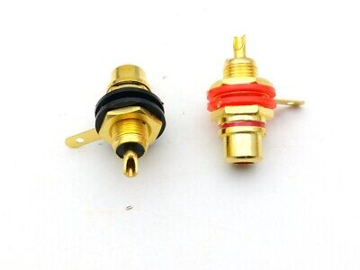100pcs Gold Plated RCA Female Jack Panel Mount Chassis Socket adapter