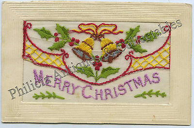 Ww1 Embroidered Silk Postcard 'merry Christmas' Sent By Aif Soldier France B45