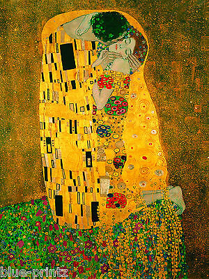 gustav klimt the kiss final large vintage old A1 CANVAS painting art