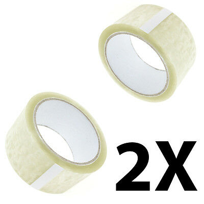 2X Rolls Of Clear Buff Parcel Packing Tape Packaging Carton Sealing 48Mm X 66M