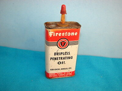 Firestone Dripless Penetrating Oil Tin Can Akron Ohio U.S.A. Made Empty