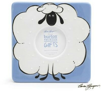 New  Baby Blue Sheep Hand Painted Ceramic Photo Picture Frame Nursery Decor