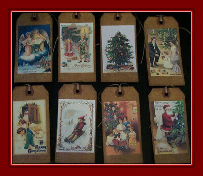 Christmas~Old World~Santa~Primitive~Label~Linen Cardstock~Gift~Hang~Tags~Set 1