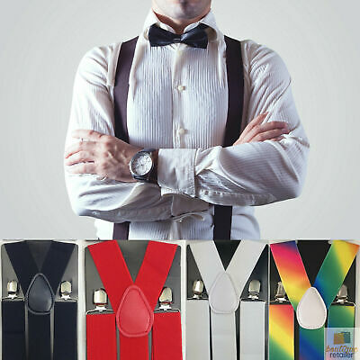 35mm WIDE SUSPENDERS Men's Adjustable Braces Clip On Trouser Elastic Y-Back