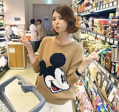 Women Girl's Lady Mickey mouse Casual Knitted Pullover Knitwear Sweater Tops
