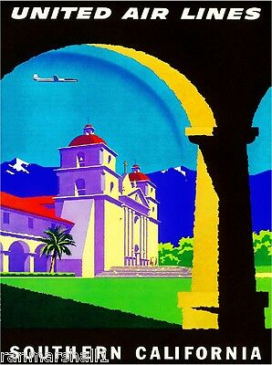 Southern California Mission United States America Travel Advertisement Poster