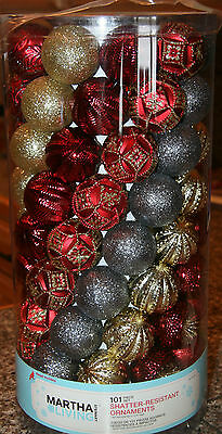 Martha Stewart 101 Shatter Resistant Christmas Ornaments - Multicolored - NIP!