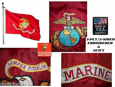 *USA MADE HEAVY DUTY 3x5 USMC US Marines EMBROIDERED&SEWN 600D 2PLY/SIDED FLAG
