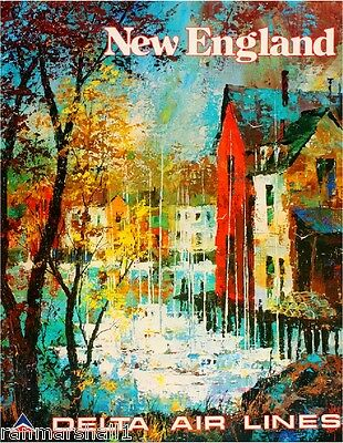 New England United States America Vintage Travel Advertisement Art Poster