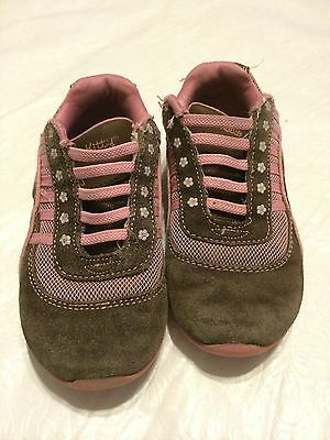HELLO KITTY-SHOES-GIRLS/TODDLER SIZE 11 used SLIP ON-PINK/BROWN