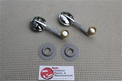 Chevy GM Inside Interior Manual Door Quarter Window Rollup Cranks Ivory Knobs