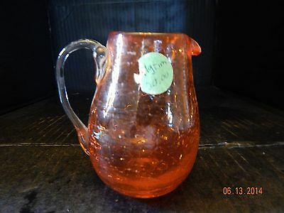 Vintage Pilgrim Orange Crackle Glass Small Pitcher