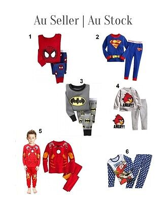 Kids LONG SLEEVE PYJAMAS Boys COTTON SLEEPWEAR ironmaN Superman SZ 1 2 3 4 5 6
