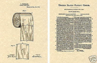 First Toilet Paper Roll US Patent Art Print READY TO FRAME!! Vintage 1891