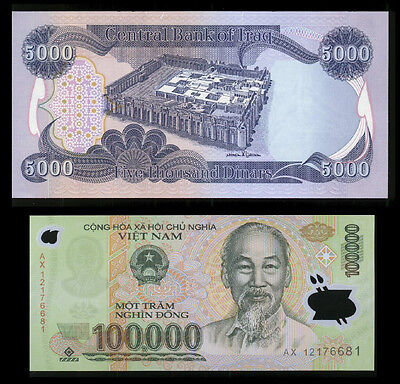 New Iraqi Dinar 5,000 + FREE 100,000 Viet Nam Dong With Dinar Note Purchase* Lot