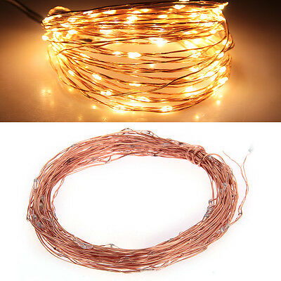 10M 100 LED Warm White String Fairy Light DC12V Copper Wire Christmas Xmas Party
