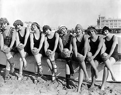vintage old antique 1920's  swimsuits woman beach USA models pin up canvas print