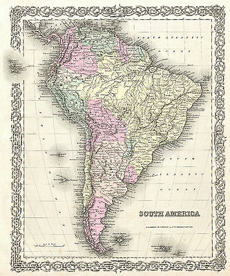 south america brazil argentina chile map vintage paper poster for glass frame