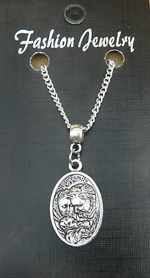 "18"" or 24 Inch Necklace & Holy Family Charm Jesus Virgin Mary St Joseph Pendant"