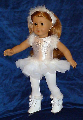 """FITS 18"""" American Girl White Butterfly Design Furry Ice Skating Outfit Set 4 PC"""