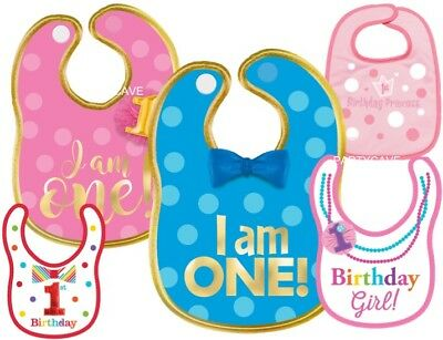 1St  First Birthday Party Boy Girl Baby Blue / Pink Bib Bibs Velcro