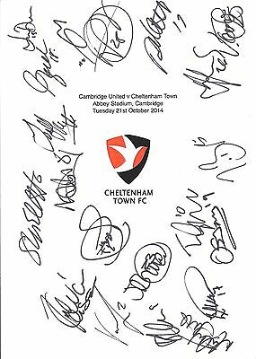 An A4 white card with the Cheltenham Town Badge. Signed 21 players on 21.10.14.