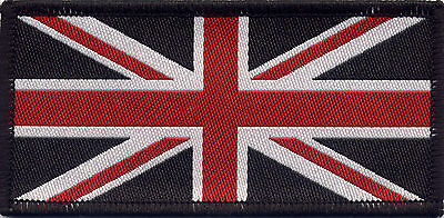 Union Jack UK British Flag Woven Badge Patch Red White & Black 9.8 x 4.9cm
