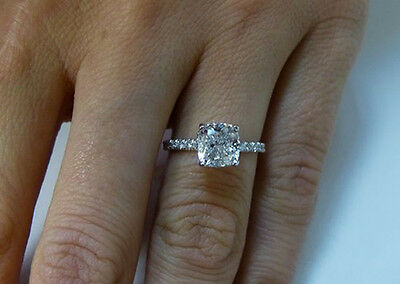 1.80 ct. Natural Cushion Cut Pave Diamond Engagement Ring - GIA Certified