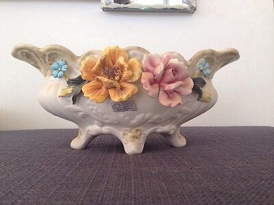 R. Capodimonte Planter made in Italy Toscany Import Crown Marked Floral Applique