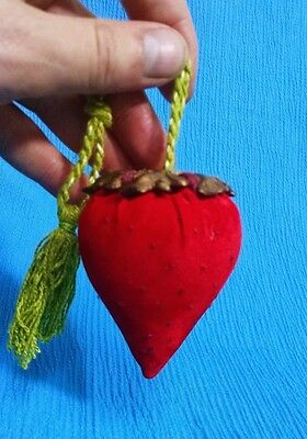 Vintage Strawberry Pin Cushion with Metal Stem, Hand Made Velvet