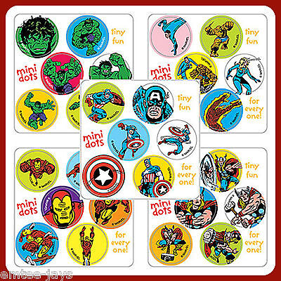 Avengers Stickers - 60 Dots - Rewards Teachers Party Favours Seals Birthday