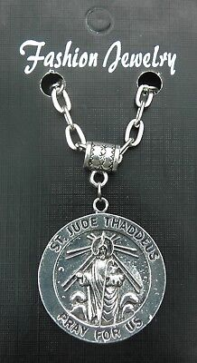 """20"""" or 24"""" Inch Necklace & St Jude Thaddeus pendant Charm Religious Holy Saint"""