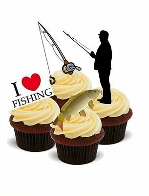 Outstanding Novelty Fishing Fisherman Mix 12 Stand Up Edible Cake Toppers Funny Birthday Cards Online Eattedamsfinfo