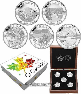 Canada 2014 Oh O Canada Complete 5 Coin $25 Pure Silver Proof Set in Wooden Case