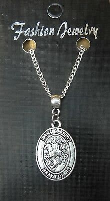 """18"""" or 24 Inch Saint St George Pendant Charm & Necklace Religious Sacred Gift"""