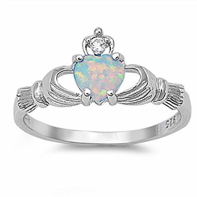 Lab Opal CZ Claddagh Ring  - 925 Sterling Silver - Irish Celtic Heart Love NEW