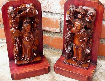 Antique/ Vintage Oriental Wood Carved Women Bookends Statues Asian Figures
