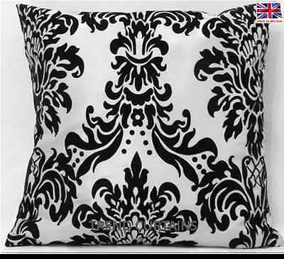 "LUXURIOUS FLOCK DAMASK LUXURY CUSHION COVERS RED BLACK WHITE COLOURS 18"" x 18"""