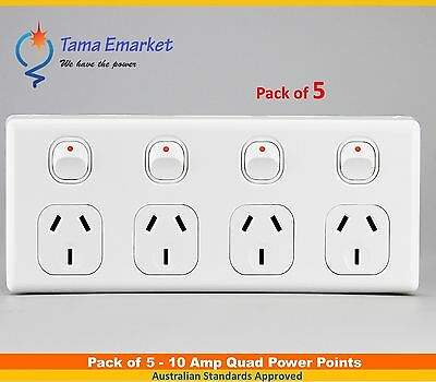 5 pieces 10 Amp Quad Power Point 4 Gang Socket Electrical Supplies 10A GPO SAA