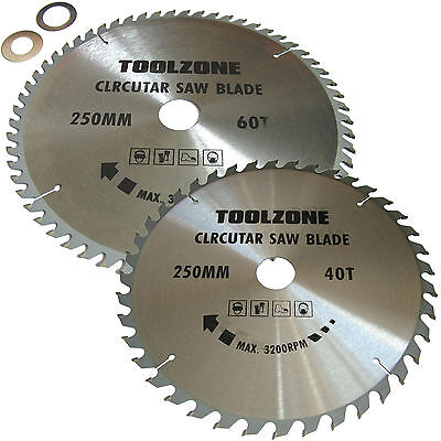 250mm Circular Saw Blades 40 & 60 teeth medium/fine finish TCT Saw Disc Blades