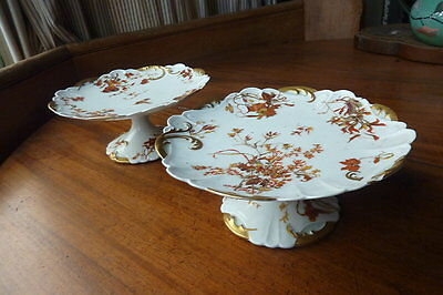 Pair antique French china cake stand comports - Limoges